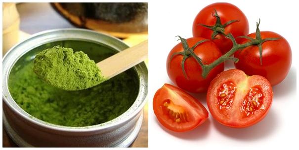 làm trắng da an toàn từ bột đậu xanh, cà chua