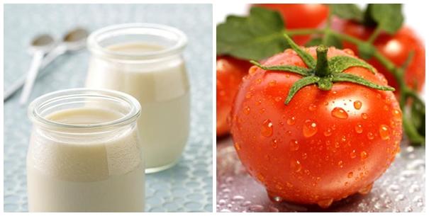 Cách trị tàn nhang bằng sữa chua và cà chua.